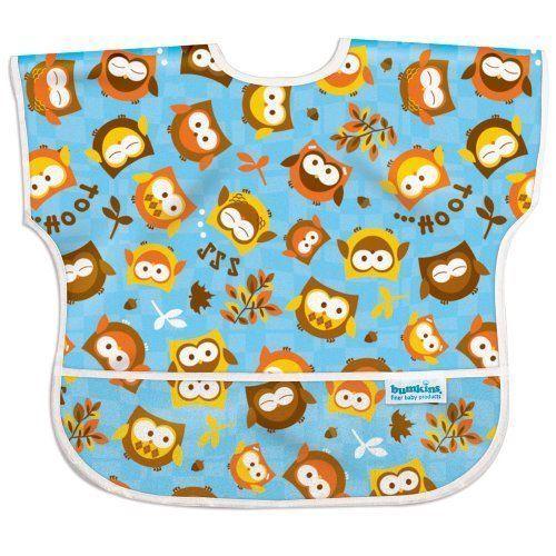 NWT Bumkins Waterproof Junior Bib Owl Baby Toddler Boy Girl