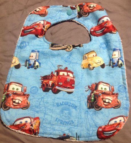 Disney Cars Lighting McQueen Mater Luigi Guido Large Baby Toddler Drool Bib Wash