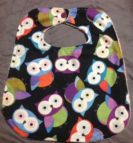 Big Eyed Owls Purple Blue Green Orange Red Large Baby Toddler Drool Bib Wash