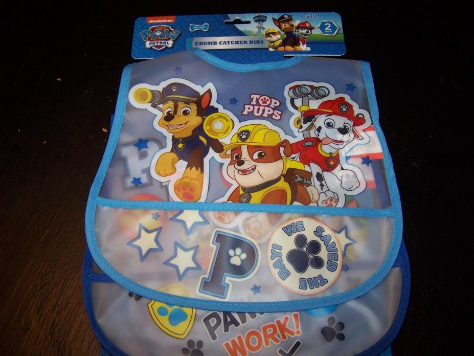 Boys Blue Paw Patrol Set of 2 Clear Peva Bibs With Crumb Catcher Pocket New