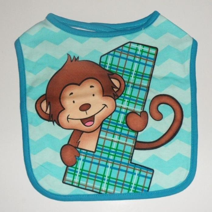 Baby's First Birthday BLUE MONKEY Bib Brand New