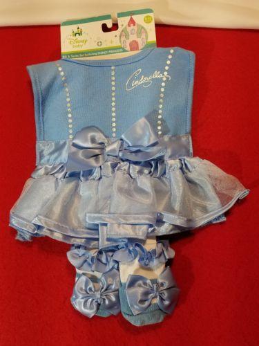 Disney Baby 0-12 Months Bib & Socks Set Cinderella Princess Blue New