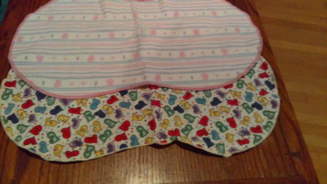 Lot of 2 Baby Burp Cloths Flannel Pre-Owned
