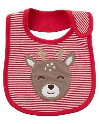 Carter's Reindeer Christmas Xmas Holiday Teething Bib, Red, One Size
