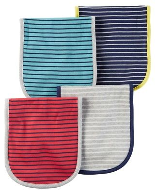 Carter's Baby Boys' 4-Pack Striped Burp Cloths, One Size