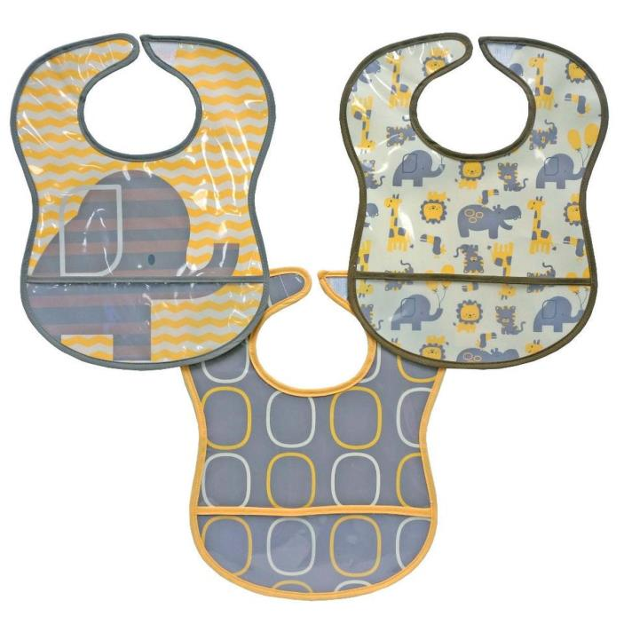 New Bibsters 3 Pack Yellow Elephant Bibs Waterproof 2 Layer with Crumb Catcher