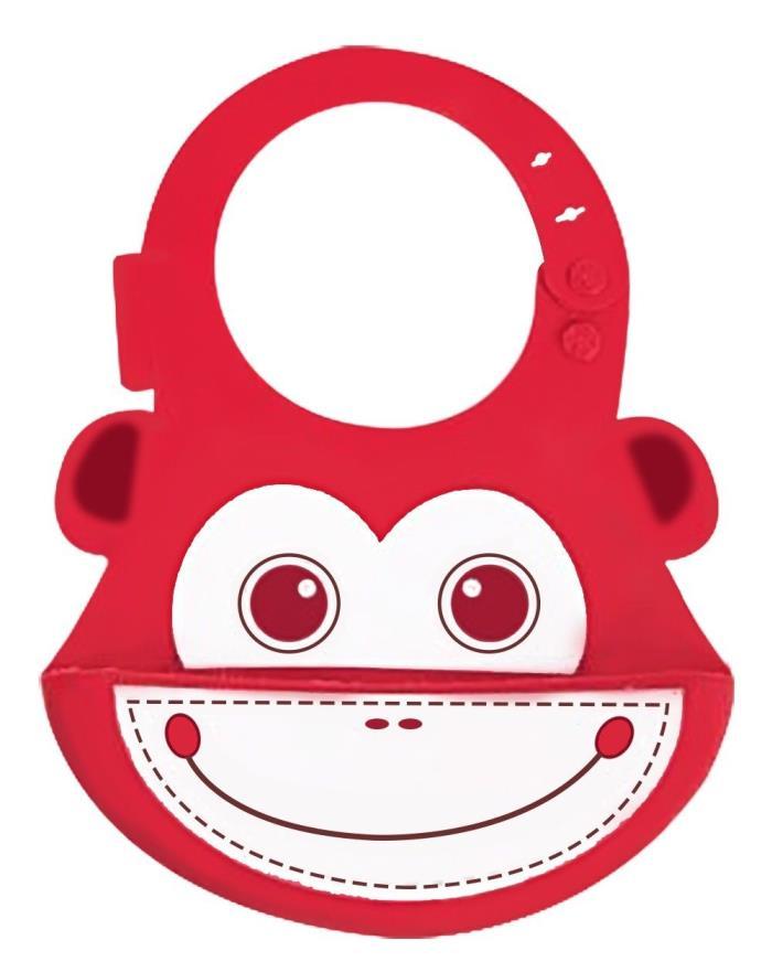 NEW Lovely Baby Infants Kids Cute Silicone Bib Lunch Bib Cute Waterproof (RED)