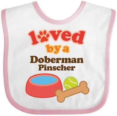 Inktastic Doberman Pinscher Loved By A (Dog Breed) Baby Bib Dogs Pets Mom Gift