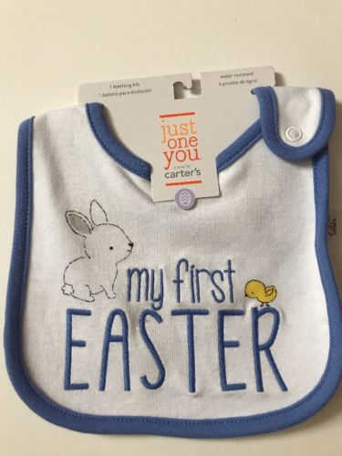 NWT Baby Boys Just One You Made by Carter's  white/blue MY FIRST EASTER Bib