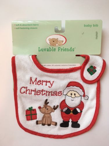 Luvable Friends Merry Christmas Santa Reindeer Self Fastening Baby Bib New