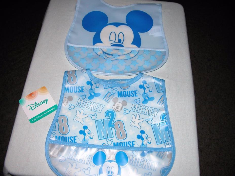 Disney Mickey Mouse Boys' Blue (2) Pack Crumb Catcher Bibs New/One Size