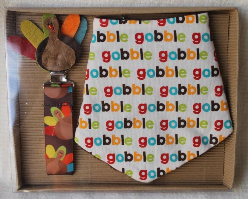 Mud Pie Dribble Bib and Pacy Clip Set Thanksgiving Turkey Gobble NWOT