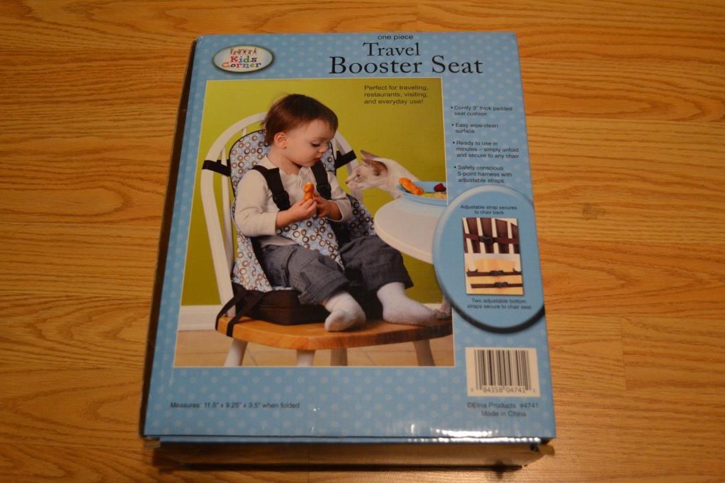 NIB Kids Corner One Piece Travel Booster Seat Blue Espresso Color Brand New