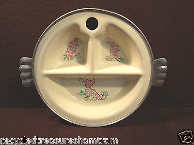 Antique Vintage Bo Peep Baby China Sectioned Dish in Metal Warmer by Excello