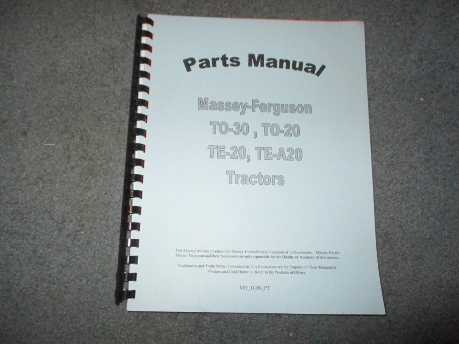 Massey Ferguson TO30 TO30 TE20 TE30 Jensales Parts Manual MH_TO20_PT