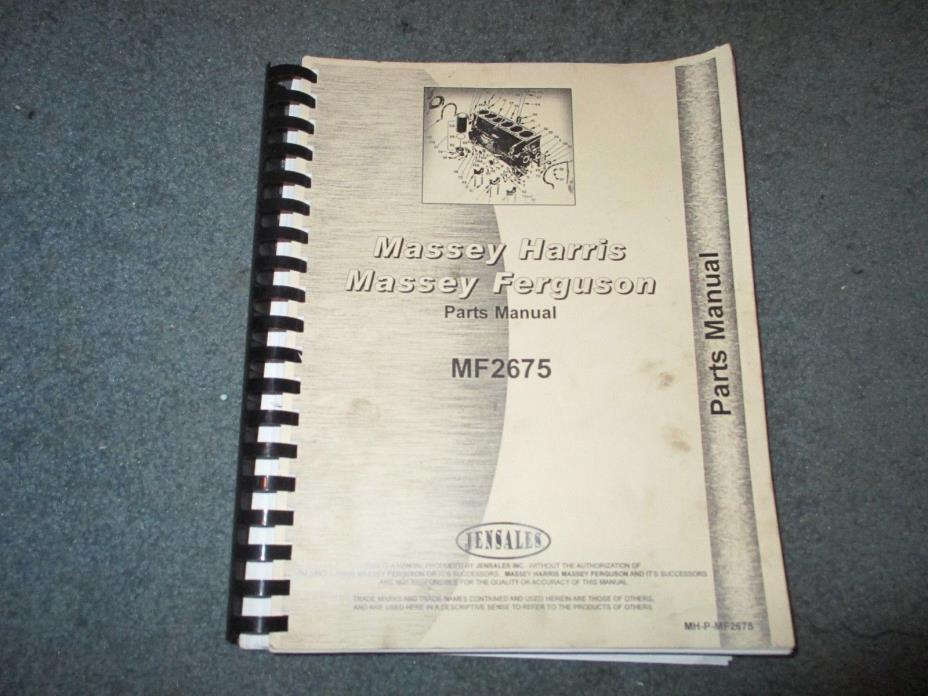 Massey Ferguson 2675 Jensales Parts Manual MH-P-MF2675 2 Volumes!!