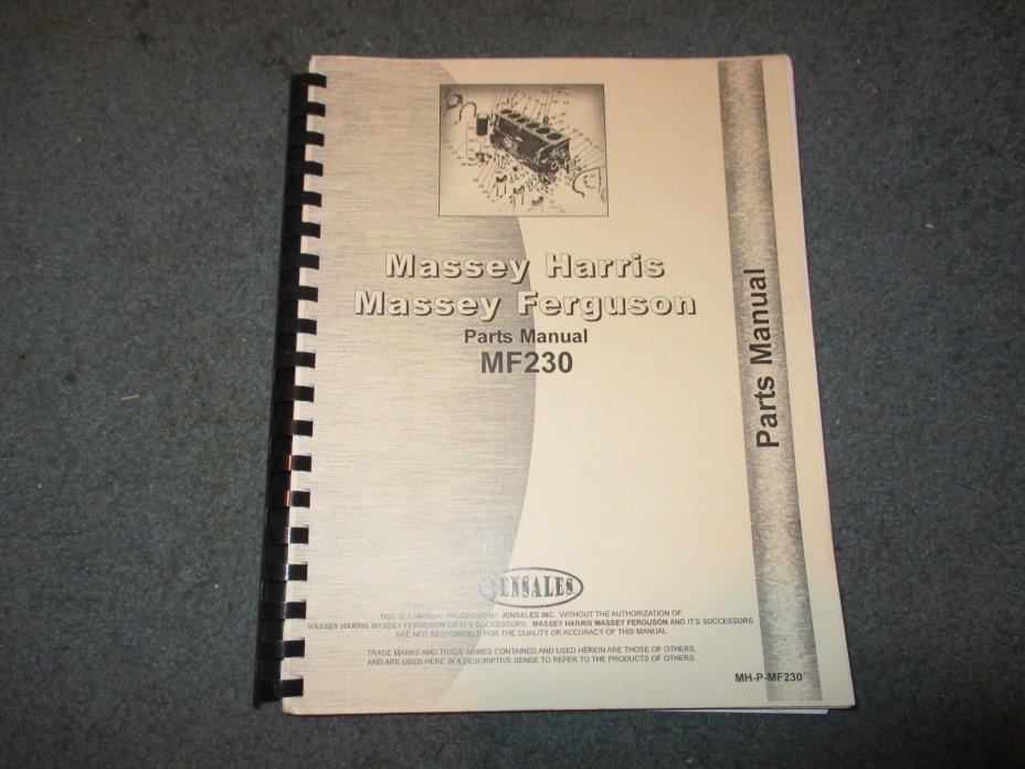 Massey Ferguson 230 Jensales Parts Manual MH-P-MF230