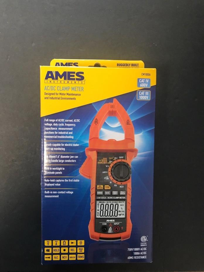 AMES INSTRUMENTS True-RMS 1000A/750V AC Clamp Meter Cat III CMA1000A 64017