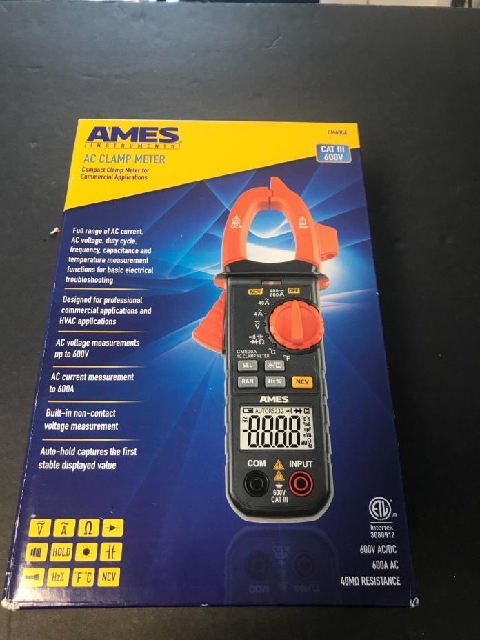 AMES INSTRUMENTS True-RMS 600A/600V AC Clamp Meter Cat III CMA600A 64013