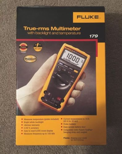 New! Fluke 179 ESFP True RMS Multimeter with Backlight and Temp - Fast Shipping!