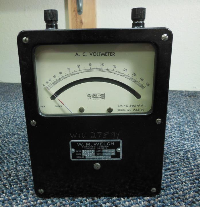 Vintage W. M. Welch AC Voltmeter 3064D 0-150 AC Volts ? Tested Working ? Clean ?