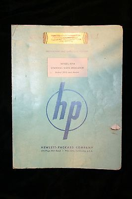 HP  415A Standing Wave Indicator Instruction Operating Manual WITH SCHEMATICS