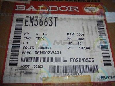 BALDOR SUPER-E EM3663T INDUSTRIAL MOTOR  5 HP 3500 RPM *NEW IN BOX*