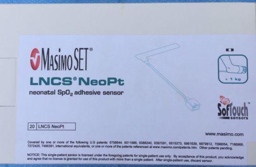 Masimo LNCS NeoPt Neonatal SPO2 Sensors X 20, New, LNCS NeoPt