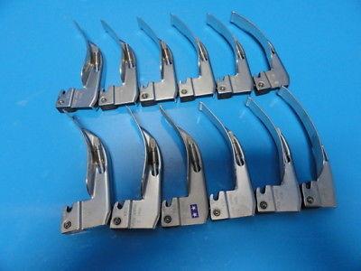 12 x Welch Allyn 69043 MAC 3 (11) & 69243 EMAC 3 (1)  Laryngoscope Blades ~13955