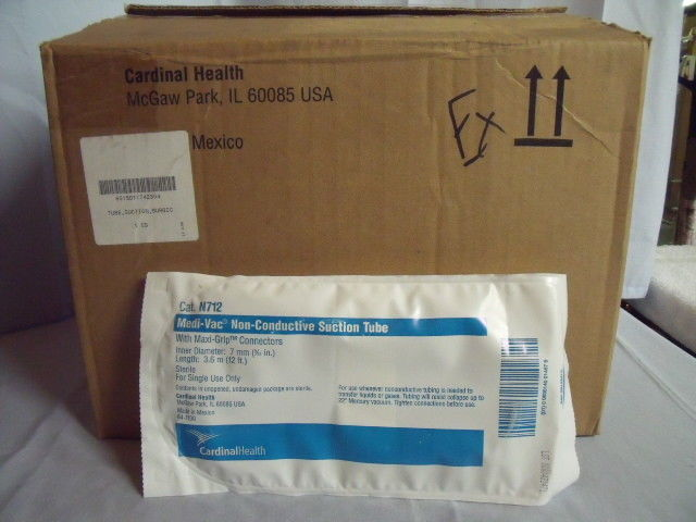 Case of 20 Cardinal Health Medi-Vac Suction Tube 7mm Non-Conductive Cat N712! J7