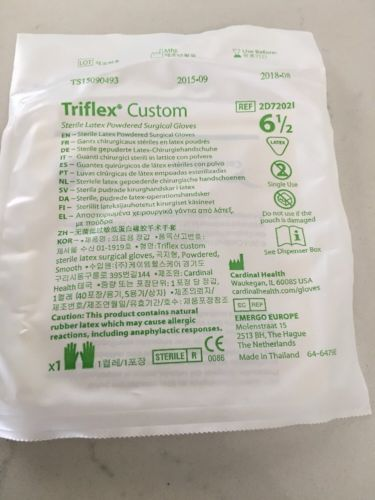Cardinal Health Triflex Custom Latex Gloves 6.5, 40 Pairs