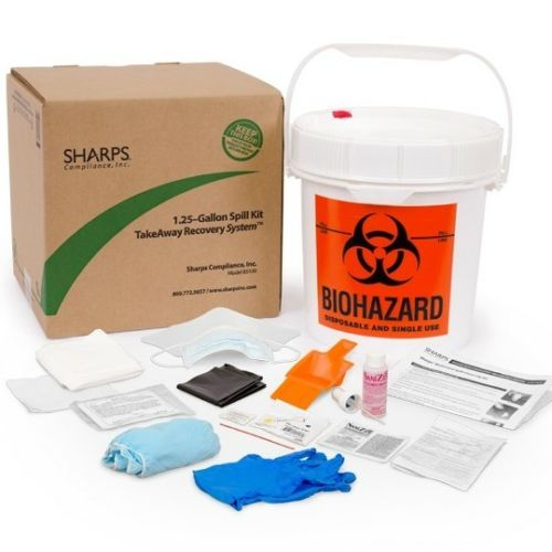 Sharps Take Away 1.25 gal Spill Kit Recovery System safety clean up kit New