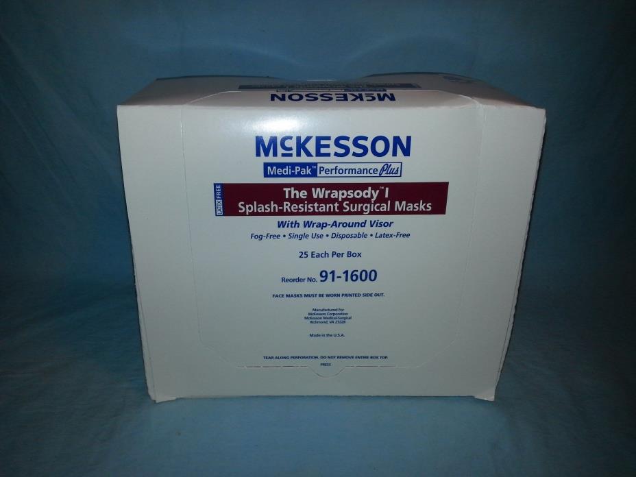 25 McKesson The Wrapsody 1 Splash-Resistant Surgical Mask w/ Wrap-Around Visor