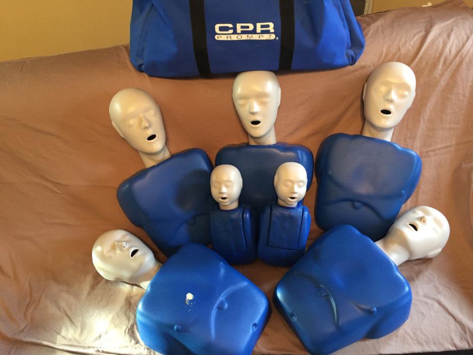 CPR Prompt (5 Pack) BLUE Adult/child Manikins, 2 infant manikins, nylon case