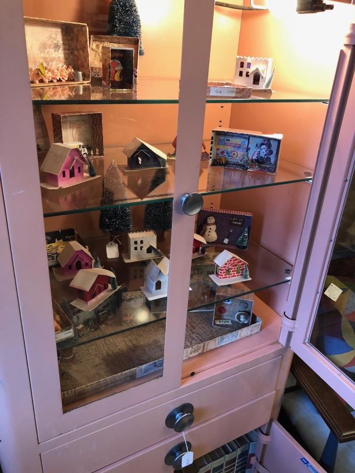 Vintage Hamilton Pink Metal Medical Cabinet Glass Shelves Light