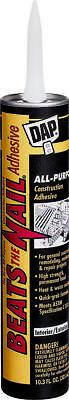 Beats The Nail 25082 All-Purpose Construction Adhesive, 10.3 oz, Tube, Gray,