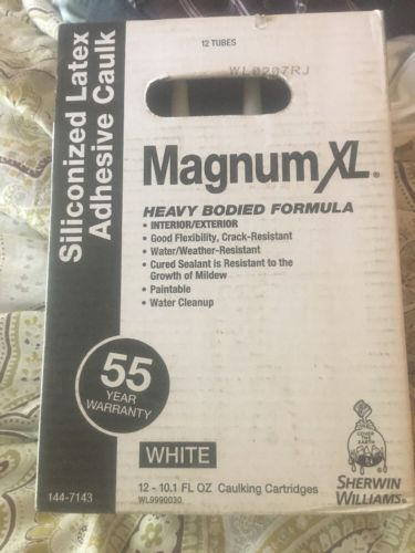12-10.1 oz Magnum XL White Paintable Latex Window Door Caulk Paintable Silicone