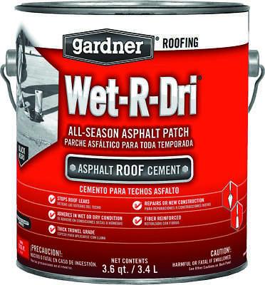 Gardner-Gibson Wet-R-Dri Plastic Roof Cement, 1 gal, Black, Liquid
