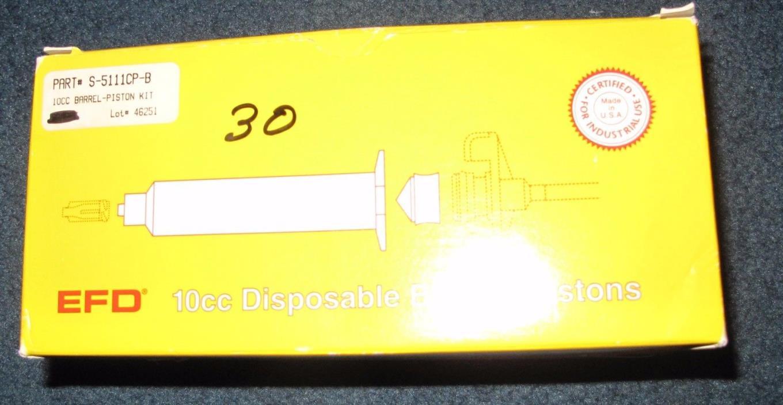 NEW Lot of 49 EFD 10cc Disposable Barrels& 24 pistons #5111 Clear, Open Box