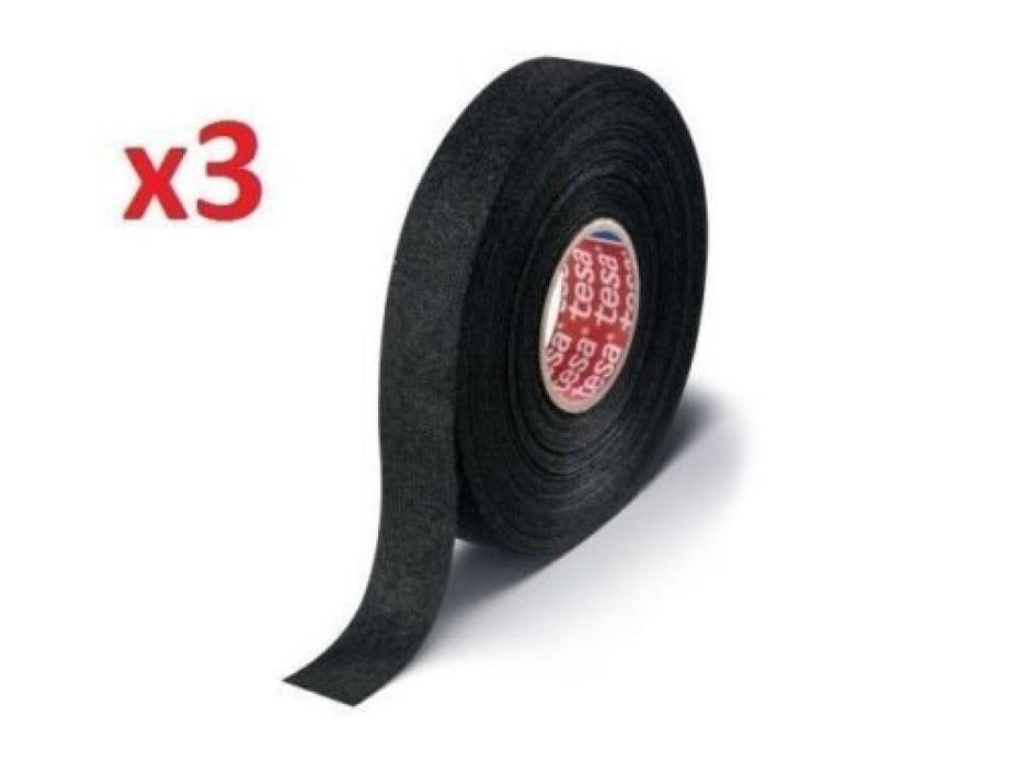 Original Flexible Abrasion Adhesive Wiring Cloth Tape 3 Pieces Pack Color Black