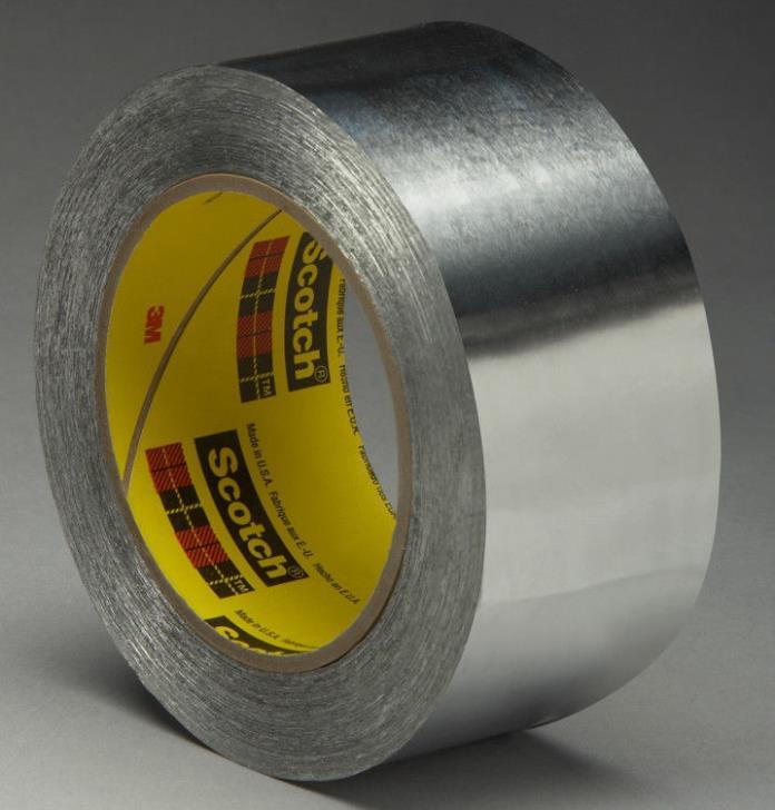 3M High Temperature Aluminum Foil Tape 433 Silver, 3 in x 60 yd 3.6 mil 49774