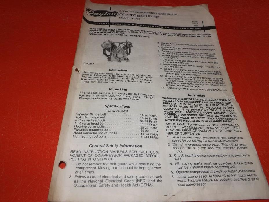 Dayton 3Z960 Air Compressor Pump Motor Manual