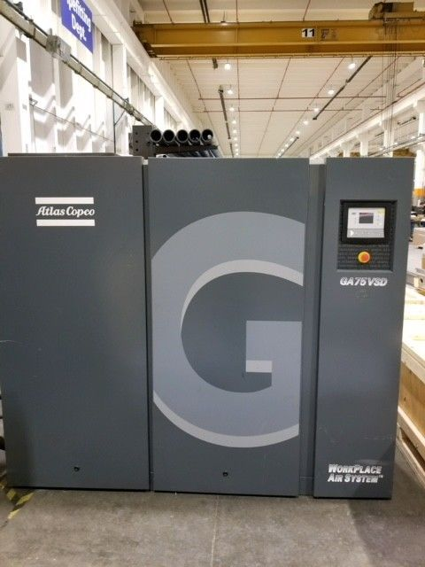 Used Atlas Copco 75 HP Rotary Screw Air Compressor Variable Speed