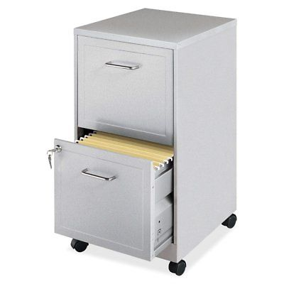 Gray Silver Metal 2-Drawer File Cabinet with Casters