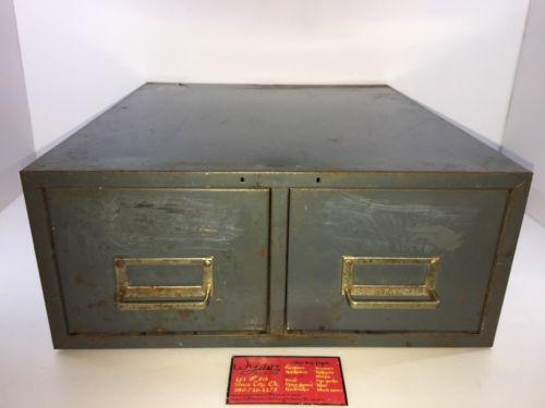 Vintage Grey Steel Industrial Metal Double 2 Drawer Storage File Card