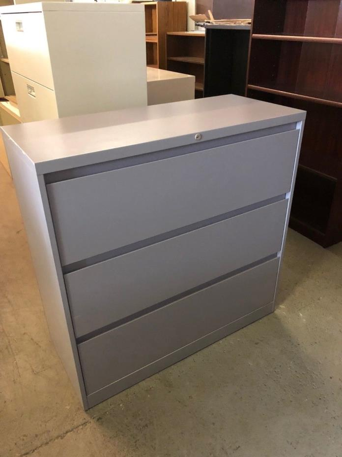 3 DRAWER LATERAL SIZE FILE CABINET by STEELCASE OFFICE FURN w/LOCK&KEY 42