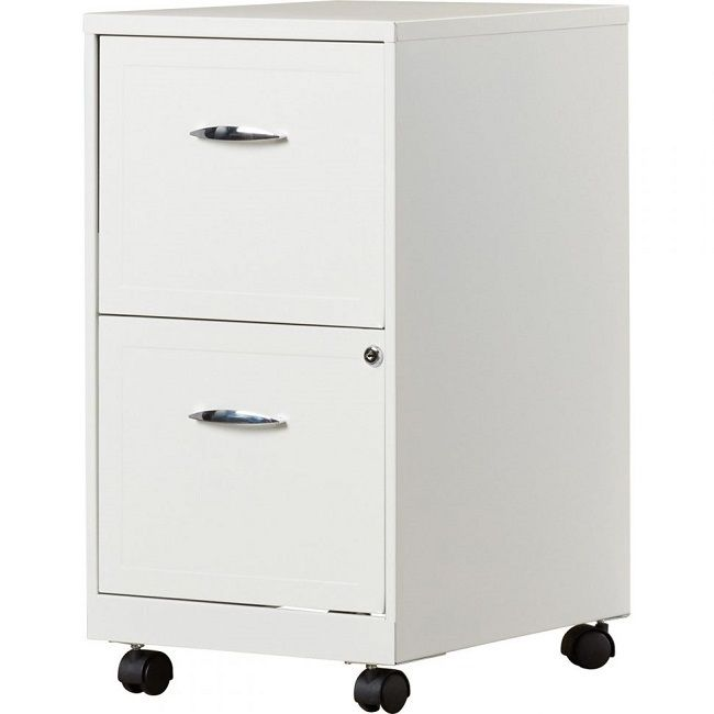 Portable File Cabinet Filing Organizer Small Locking Metal White 2 Drawer Legal