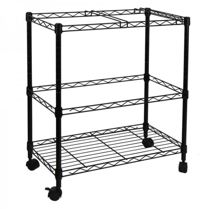Black Rolling File Cart 2 Tier Metal 4 Wheels 2 dividers Adjustable New Portable