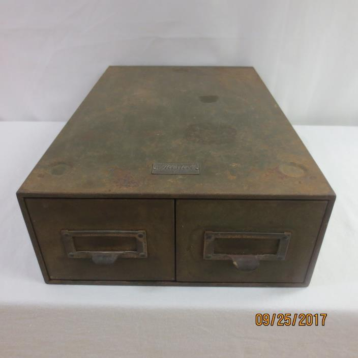 Metal Library card  2 drawer File Cabinet - Allsteel  General Fireproofing VTG