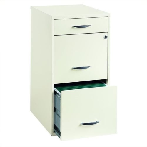 Steel File Cabinet Storage Organizer 3 Drawer Indoor Home Display Decor White